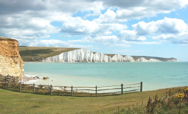 The iconic Seven Sisters stretch eastwards towards Beachy Head - click to enlarge