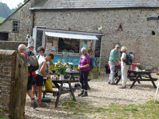 The excellent Hiker's Rest  is right on the South Downs Way at Saddlescombe