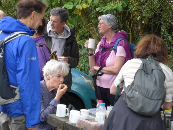 How to walk 100 miles and put on weight - tea at Old Winchester Hill car park , thanks to Liz